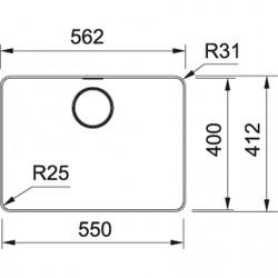 Franke Mythos MYX 210-55 Inox Tezgah Üstü / Tezgaha Sıfır Paslanmaz Çelik Evye
