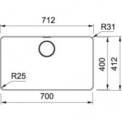 Franke Mythos MYX 210-70 Inox Tezgah Altı / Tezgaha Sıfır Paslanmaz Çelik Evye