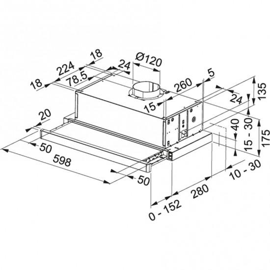 Franke  FTC 6032 GR/ XS V2/600 İnox Gömme Aspiratör