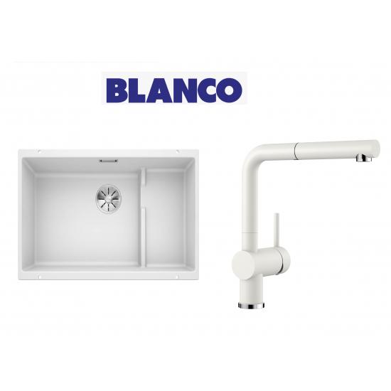 Blanco 700 U Level  Tezgah Altı 1.5 Gozlu Beyaz Evye + Blanco Linus S Spiralli Beyaz Armatür Kampanyası