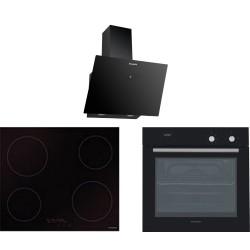DOMİNOX Siyah Cam Elektrkli Seramik 60 Lık Ankastre Set