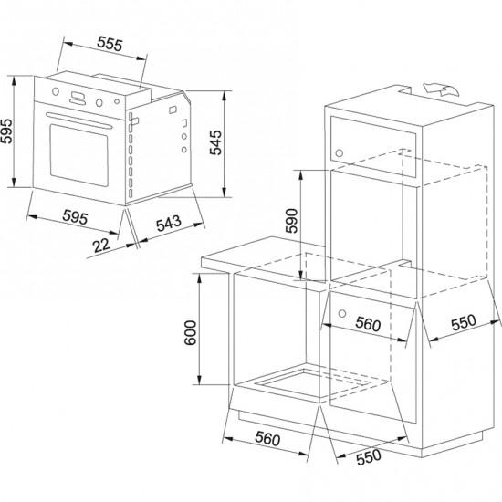 Franke Glass Linear GN 82 M NT XS Paslanmaz Çelik Ankastre Fırın