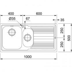 Franke Logica Line LLL 651 Dekorlu Tezgah Üstü 1.5 Gözlü sol Damlalıklı Çelik Evye