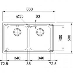 Franke Logica Line LLX 620-L İnox Tezgah Üstü 2 Gözlü Paslanmaz Çelik Evye
