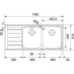 Franke Neptun NET 621 Mikrodekorlu Tezgah Üstü 2 Gözlü Sağ Damlalıklı Çelik Evye