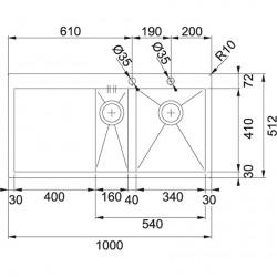 Franke Planar PPX 251 İnox Tezgaha Sıfır / Tezgah Üstü  1.5 Gözlğ Sağ Damlalıklı Çelik Evye