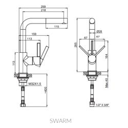Marmorin Swarm M3000 Spiralli Batarya/Armatur Ekru /Krem