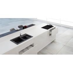 Marmorin Combo 850 Granit Evye 1,5 Gözlü Damlalıklı Tezgah Üstü Siyah