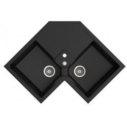 Marmorin Debra 830 2KON Köşe 2 Gözlü Siyah Granit Evye