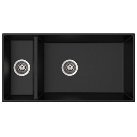 Marmorin Olwin I 870 1,5K Tezgah Üstü 1,5 Gözlü Siyah Granit Evye