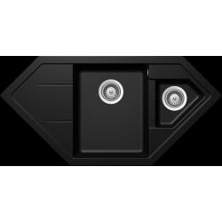 Schock SIGNUS C-150 Tezgah üstü 1.5 Gözlü Köşe Sol Damlalıklı Granit Magma / Siyah Evye