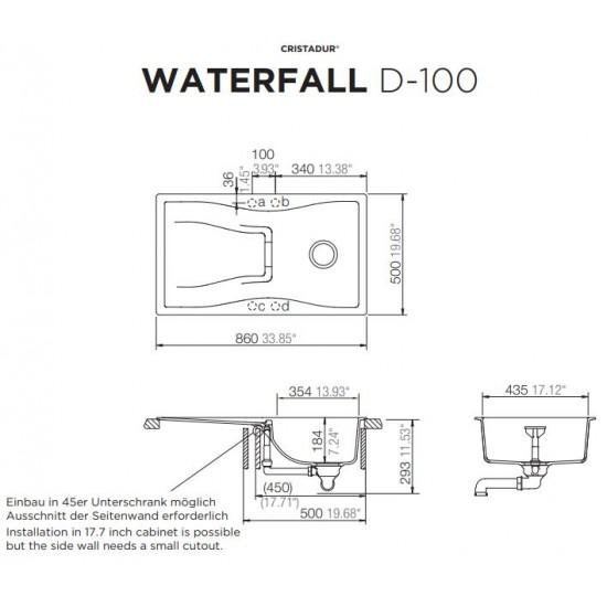 Schock WATERFALL D-100 Tezgah üstü Granit Bronze Evye