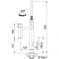 Franke Vital Kapsül Filtre Sistemi Spiralli Krom/Gun Metal  Armatür
