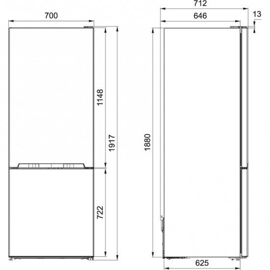 Franke Solo FFCB 508 NF XS A++ Paslanmaz Çelik Buzdolabı