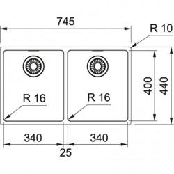 Franke Maris MRX 120-34-34 Paslanmaz Çelik 2 Gözü Evye