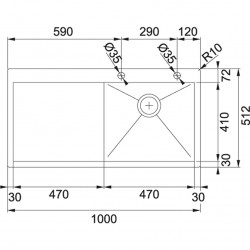 Franke Planar PPX 211 TL Paslanmaz Çelik  Tezgaha Sıfır Sol Damlalıklı Evye