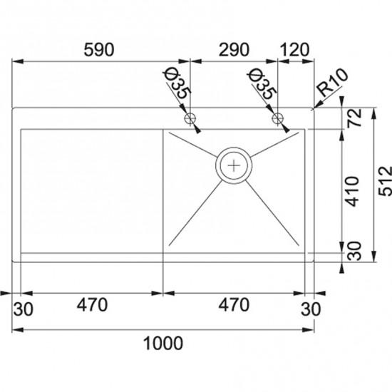 Franke Planar PPX 211 TL Paslanmaz Çelik Sağ Damlalıklı Tezgaha Sıfır Evye