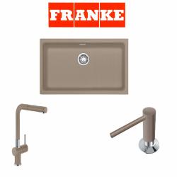 Franke Kubus KBG 110-70 Fragranite Oyster  + Active Plus Oyster Armatur ve Sıvı Sabunluk Kampanyası