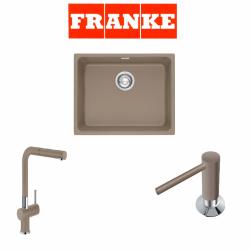 Franke Kubus KBG 110-50 Fragranite Oyster  + Active Plus Oyster Armatur ve Sıvı sabunluk Kampanyası